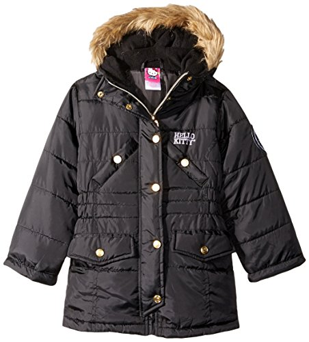 Hello Kitty Big Girls Quilted Long Puffer With Faux Fur Trim Hood, black, 7