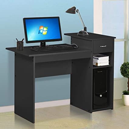 Fabulous Yaheetech Home Office Small Wood Computer Desk With Drawers And Storage Shelves Workstation Furniture Black Home Interior And Landscaping Transignezvosmurscom