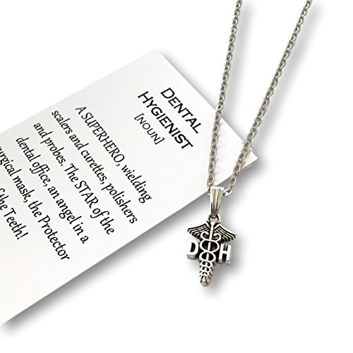Dental Hygienist Necklace with Caduceus – Dental Hygienist Jewelry Gift