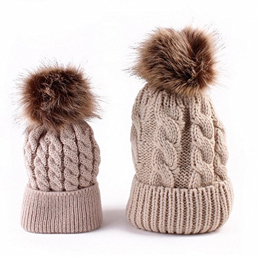 [2Pcs Cute Mother and Baby Parent-child Hats Toddler Kids Boys Girls Knitted Crochet Beanie Winter] (Old Ash Ketchum Costume)