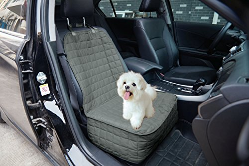 Elegant Comfort Quilted Design%100 Waterproof Premium Quality Single Car Seat Protector Cover (Front Single Seat) for Pets - TIES TO STOP SLIPPING OFF THE BENCH, (Gray Front Seat)