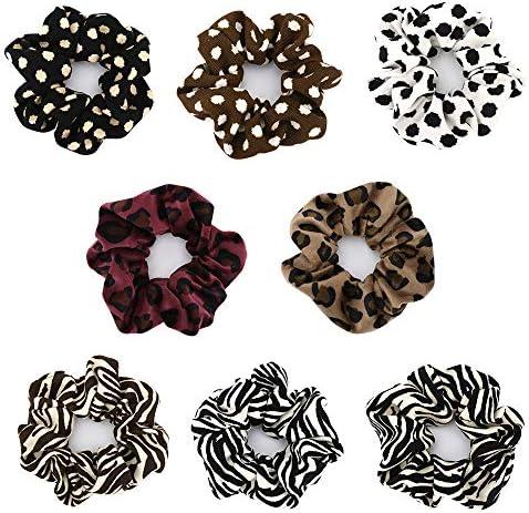 Lewondr Hair Scrunchies, [8 PACK] Soft Flannel Elastic Rubber Bands, Animal Print Scrunchies Ponytail Holder Hair Accessories for Women and Girls – Zebra Grain/Dot Pattern