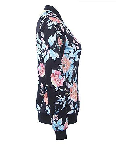 Femmes Imprimer Zip Jacket Outwear Longues Veste Bombardier Bomber Manteau Manches Comme Floral Tops Image raWnpr