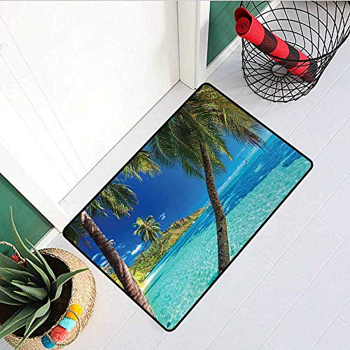 (GloriaJohnson Ocean Front Door mat Carpet Image of a Tropical Island with Palm Trees and Clear Sea Beach Theme Print Decor Machine Washable Door mat W29.5 x L39.4 Inch Turquoise Blue)