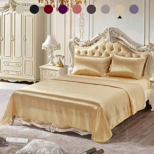 Chanyuan 3 Pieces Gold Satin Silky Sheets Set Twin Size Luxurious Smooth Silky Bedding Collection Soft Microfiber, 16