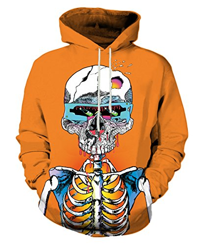 - Neemanndy Youth 3D Print Skeleton Orange Sweaters Hooded with Pocket for Teen Boy and Girl, Medium