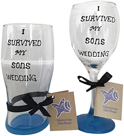 Padres del novio regalo, sobreviví la boda de mi hijo de vidrio pintado a mano, vidrio de vino y cerveza cristal incluido