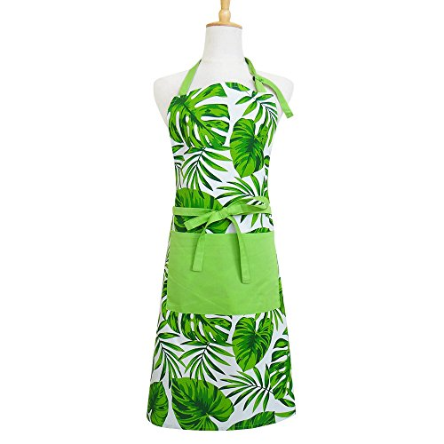 Apron, Hawaiian Party Decorated with Unique Herbal Summer Hawaiian Design, Women's Apron with Pockets, eco-Friendly and Safe, Adjustable Neck and Waist tie, Machine Washable, Palm Leaf Pattern Apron, ()