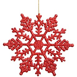 Vickerman Glitter Snowflake, 8-Inch, Red