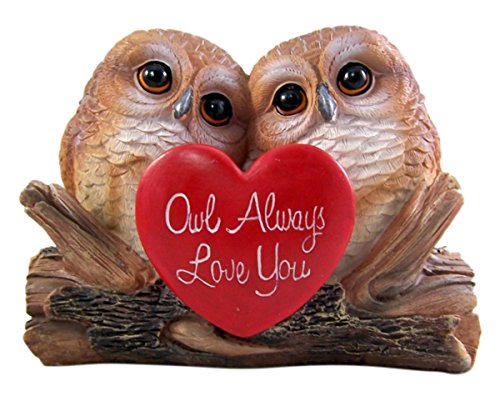 Side by Side Owls Sitting on Log Statue 5 Inch -