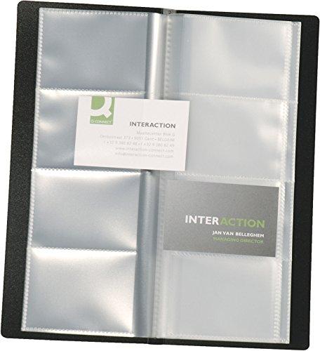 Visitenkartenbuch schwarz für 160 Karten Mappenformat ca. (BxH): 11,0 x 26,0 cm, für Visitenkarten 9,0 x 5,7 cm. Kunststoffmaterial mit glatter Oberfläche und fest eingeschweißten transparenten Hüllen. Farbe: schwarz. Ausführung für 160 Visitenkarten