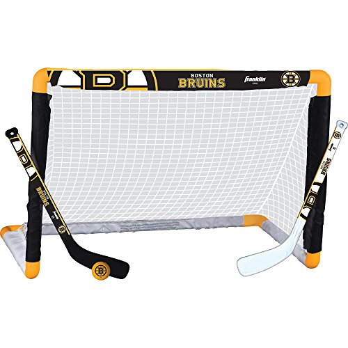 - Franklin Sports Boston Bruins Mini Hockey Knee Hockey Goal, Ball & 2 Stick Combo Set - 28