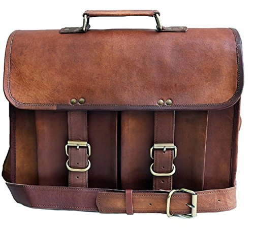 Leather Briefcase for WoMen ,Travel Briefcase with Organizer, ,Business Office Bag for Men Women,Stylish Shoulder Messenger Bag for Notebook/Computer/Tablet/MacBook/Acer/HP/Dell/Lenovo,Brown Bag 15 (Hewlett Packard Harness)