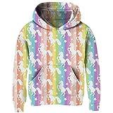 Funnycokid Youth Girls Pullover Hooded Sweatshirts Novelty Xmas Unicorn Hoodies with Kangaroo Pocket