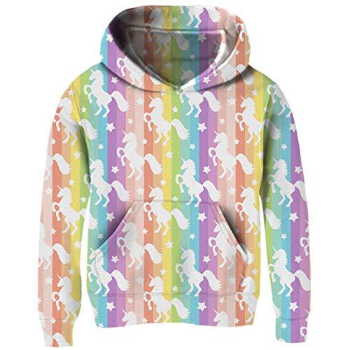 Funnycokid Little Girls Unicorn Hoody Funny Sweatshirt Pullover Xmas Hoodie for School Girls 4-6 Years