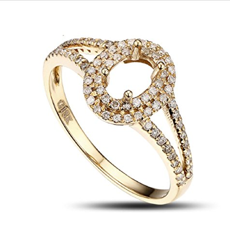 14k 6 Mm Mount (GOWE 4x6mm Oval 14k Gold Pave .43ct Diamond Semi Mount Ring)