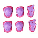 Kids Cycling Inline Roller Skating Protective Gear Set, Knee Pads Elbow Pads Wrist Guards for Boys and Girls Pack of 6 (Pink/Purple, M)