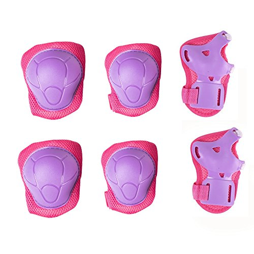 Kids Cycling Inline Roller Skating Protective Gear Set, Knee Pads Elbow Pads Wrist Guards for Boys and Girls Pack of 6 (Pink/Purple, M) by Chansea