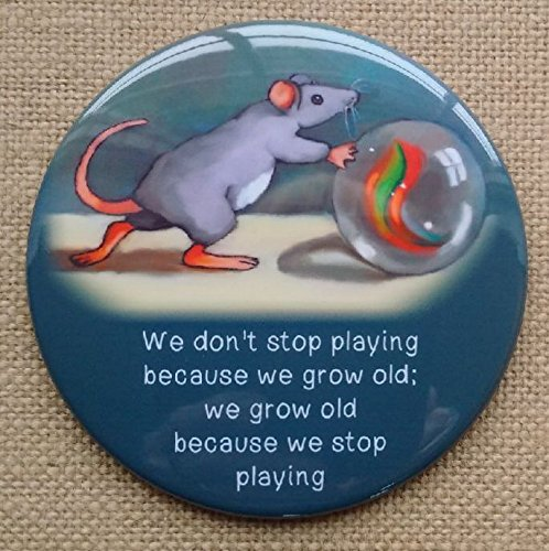 Fridge Magnet: 3.5', Growing Old, Don't Stop Playing, Cute Mouse With Marble, From Original Art Don' t Stop Playing