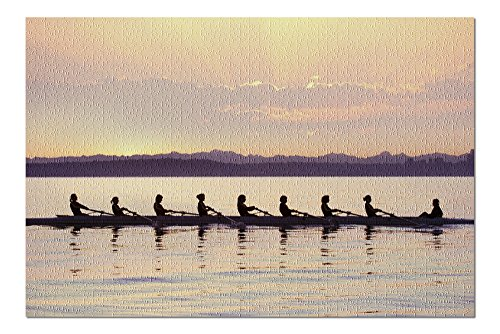 Team Rowing Boat at Sunrise (20x30 Premium 1000 Piece Jigsaw Puzzle, Made in USA!)