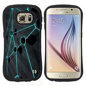 "Pulsar iFace Series Tpu silicona Carcasa Funda Case para Samsung Galaxy S6 , Teal color vibrante Planeta Red"""