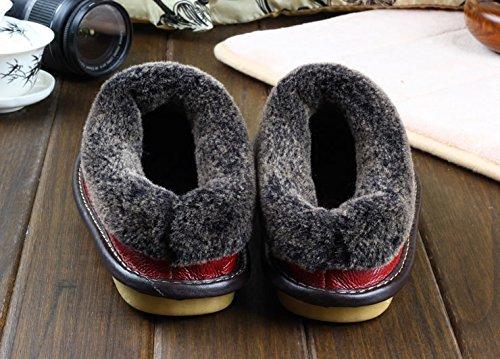 Inverno cashmere pantofole in pelle uomo donna coppie soggiorno anti-slittamento di spessore caldo cotone scarpe scarpe caldo lordo reale 26 (36~37), viola scuro