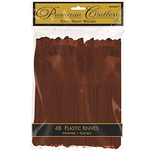 Spoons Brown Plastic Chocolate - Premium Heavy Weight Plastic Knives   Chocolate Brown   Pack of 48   Party Supply