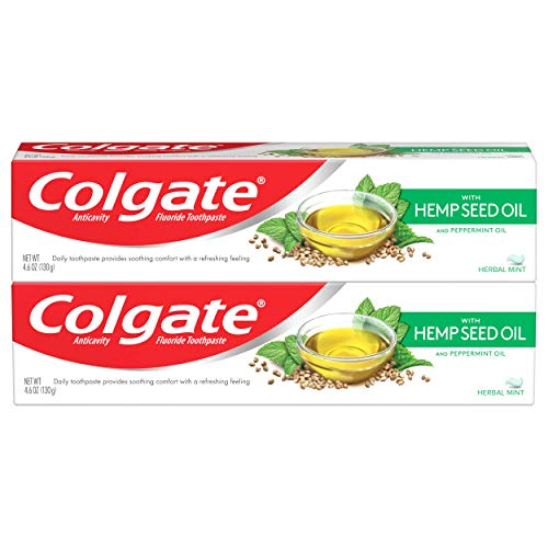 Colgate with Natural Hemp Seed Oil Gel Toothpaste with Anticavity Fluoride, Herbal Mint – 4.6 Ounce (2 Pack)