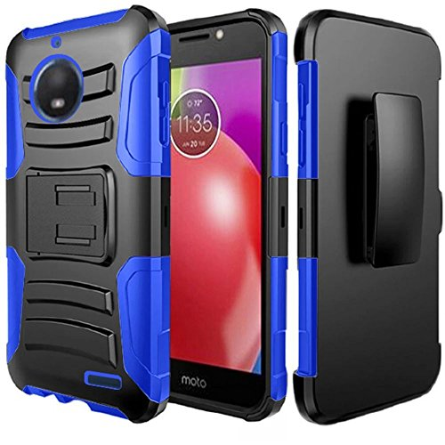 Motorola Red Hard Faceplates (Motorola Moto E4 Case, Luckiefind Dual Layer Hybrid Side Kickstand Cover Case With Holster Clip with Stylus pen & Tempered Glass Screen Protector Accessory (Holster Blue))