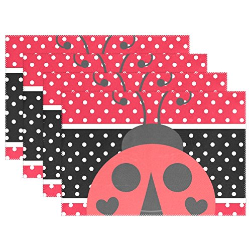 Ethel Ernest Red And Black Stripe Speckle Ladybirds Heat-resistant Placemats, Polyester Tablemat Place Mat for Kitchen Dining Room Set of 4