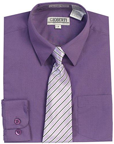 Purple Stripe Dress Shirt (Gioberti Little Boy's Long Sleeve Dress Shirt + Stripe Clip Tie-7-Purple)