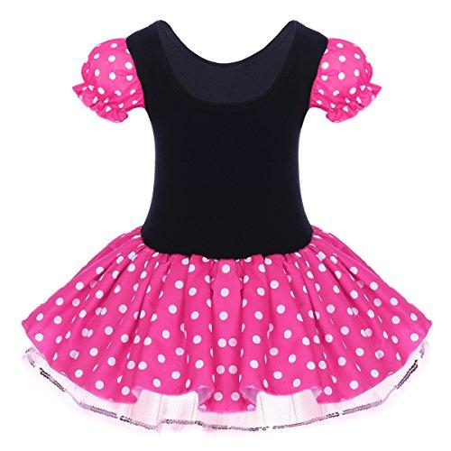 Kid Girl Minnie Costume Tutu Dress Ear Headband Outfit Summer Puff Sleeve Polka Dot Ruffle Bowknot Christmas Halloween Dress Up # Hot Pink 2-3 Years by OBEEII (Image #2)