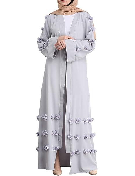 besbomig Flor Musulmanes Largo Batas Suelto Cárdigan Casual Kaftan Vestidos Túnica - Medio Este árabe Oración Maxi Abaya Vestido: Amazon.es: Ropa y ...