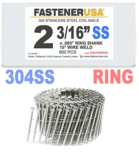 2 3/16'' x .093 RING 304 STAINLESS COIL NAILS 15 DEGREE WIRE 900ct SidePak