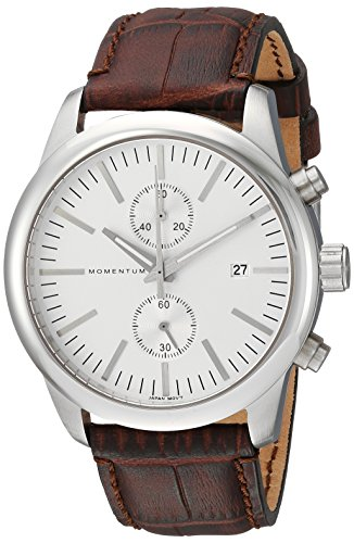 Momentum Men's 'Chronograph Collection' Quartz Stainless Steel and Leather Casual Watch, Color:Brown (Model: 1M-SN26S2C)