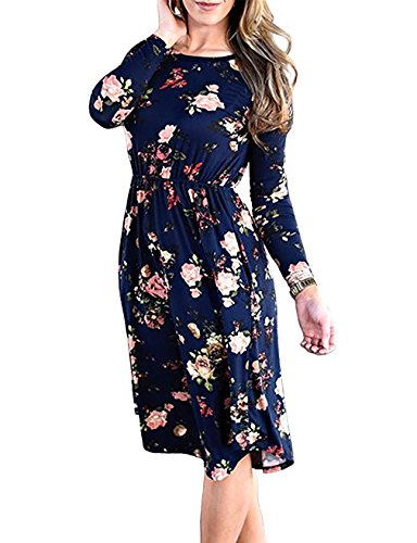 FINMYE Women's Long Sleeve Pleated Floral Swing Midi Dress with Pocket