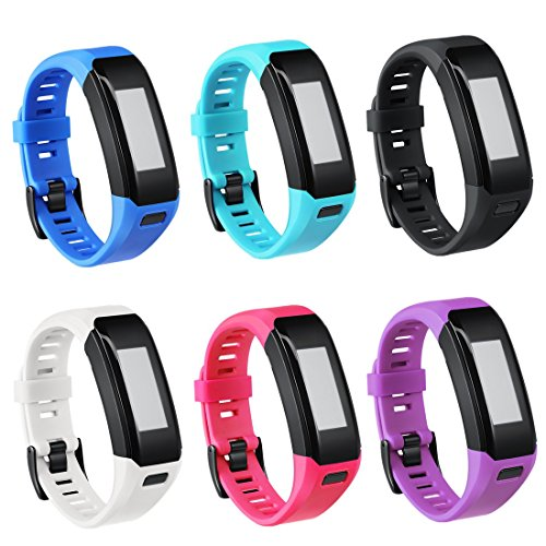 TECKMICO Garmin Vivosmart HR Bands,6PCS Colorful Replacement bands for Garmin Vivosmart HR,NO Tracker (6-Pack, Buckle Design)