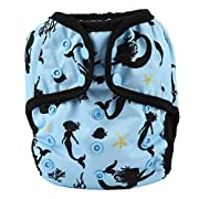 One Size Cloth Diaper Cover Snap With Double Gusset (Black Mermaid)