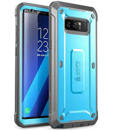 SUPCASE Galaxy Note 8 Case, Full-Body Rugged Holster Case with Built-in Screen Protector for Galaxy Note 8 (2017 Release), Unicorn Beetle Shield Series - Retail Package (Blue) ()