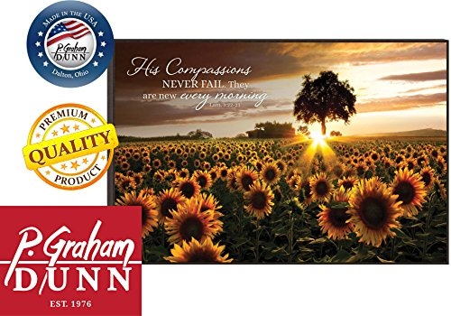 His Compassions Never Fail Sunflower Field 12 x 18 Wood Wall Art Sign Plaque