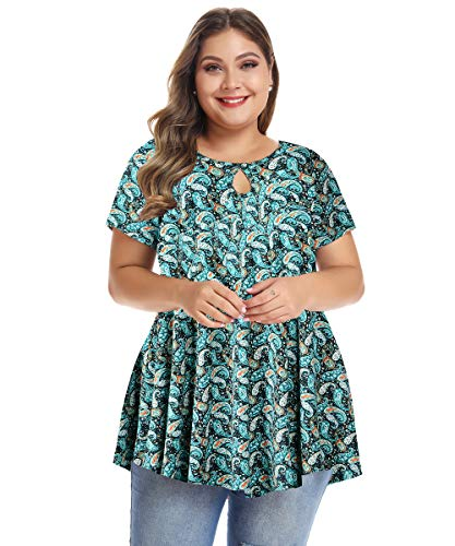 MONNURO Womens Short Sleeve Flare Swing Tunic Tops Plus Size Casual Loose Fit Shirts Blouses L-5X (Floral07, -