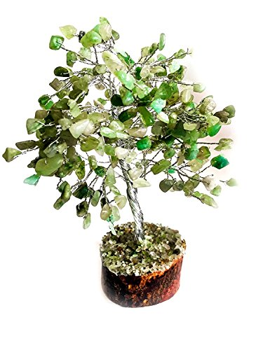 (FASHIONZAADI Green Jade Natural Stone Feng Shui Bonsai Money Tree for Good Luck Chakra Balancing Crystal Gemstone Energy Decor Home Gift Size -10 Inch (Silver Wire))