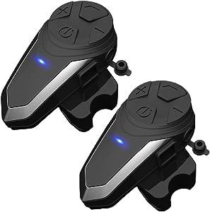 THOKWOK Motorcycle Bluetooth Headset, BT-S3 1000m 3 Riders Group Motorbike Helmet Bluetooth Communication System Headphones for Ski Universal Wireless Interphone Intercom(New Version,Pack 2)