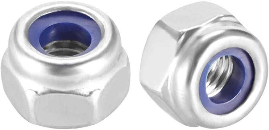 uxcell M8 x 1.25mm Nylon Insert Hex Lock Nuts 316 Stainless Steel Plain Finish Pack of 10