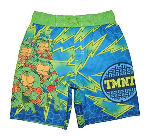 Teenage Mutant Ninja Turtles Little Boys Toddler Character Print Swim Short, Green/Blue 4T
