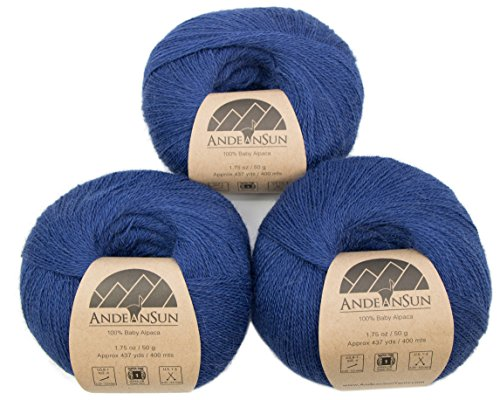 n (Weight #1) LACE - Set of 3 Skeins 150 Grams Total- Luxurious and Caring Soft for Knitting, Crocheting and Any lace Weight Project - Royal Blue ()