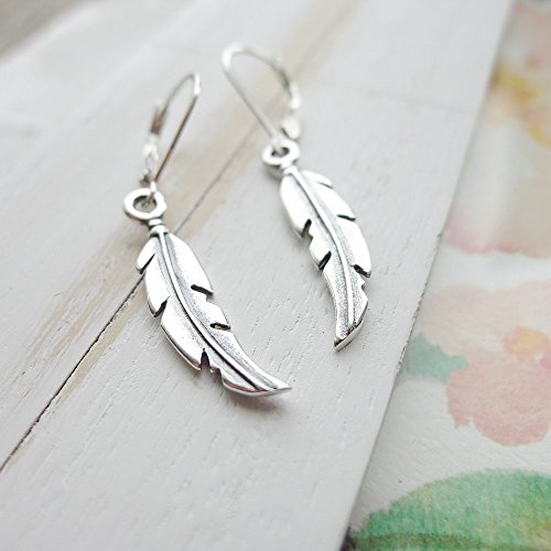 Feather Earrings Sterling Silver Leverbacks