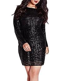 Azbro Women's Black Plus Size Sequin Mesh Mini Dress