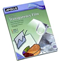 Apollc/AccWorld - Write On Transparency Film, 8-1/2x11, 100/BX, Clear