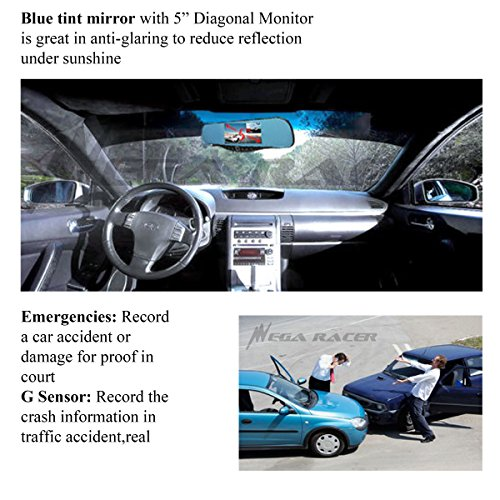 Universal 5'' Monitor 1080P Full HD Blue Tint Car Front/Backup Rear Camera Video Recorder Rearview DVR Cam Inside Mirror by Mega Racer (Image #4)